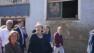 La chancelière allemande Angela Merkel en visite dans les zones sinistrées par les inondations de juillet - 03/09/2021