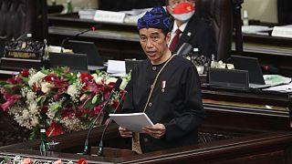 الرئيس الإندونيسي جوكو ويدودو في البرلمان، جاكرتا 16 أغسطس 2021