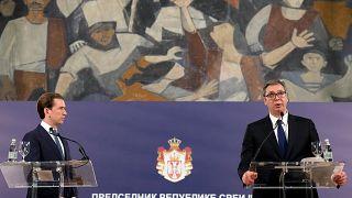 Sebastian Kurz, chancelier autrichien, en déplacement à Belgrade donne une conférence de presse avec son homologue leksandar Vucic, président de la Bulgarie, le 4/9/2021