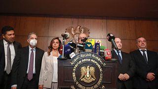 کنفرانس خبری مشترک هیئت لبنانی با وزیر خارجه و دیگر مسئولان دولت سوریه در دمشق