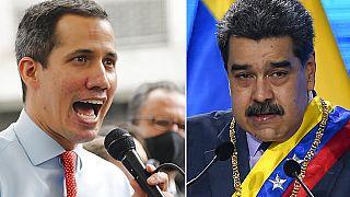 Muhalif lider Juan Guaido ile Devlet Başkanı Maduro (sağda)