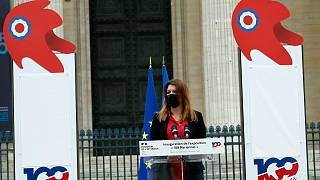 وزيرة الدولة الفرنسية لشؤون المواطنة مارلين شيابا تلقي خطاباً في باريس، الخميس 4 مارس 2021