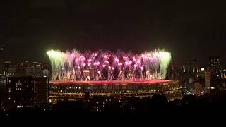 Fireworks display for the Tokyo 2020 Paralympic Games closing ceremony.