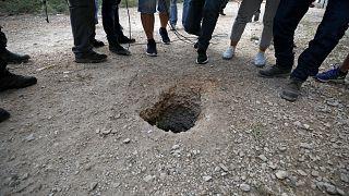 فتحة النفق التي هرب من السجناء من سجن جلبوع