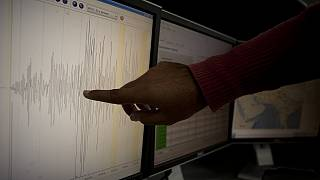Seismographic data showing the intensity an earthquake