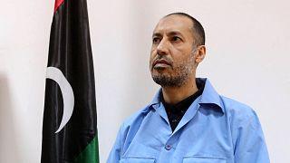 السعدي القذافي، نجل معمر القذافي، ينتظر المحاكمة في محكمة في العاصمة الليبية طرابلس، 13 مارس / آذار 2016