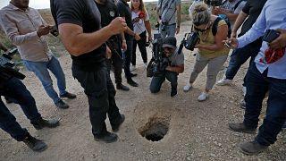 La sortie du tunnel creusé dans la cellule de six prisonniers palestiniens