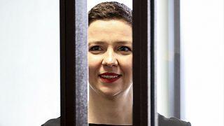 Belarus' opposition activists Maria Kolesnikova attends a court hearing in Minsk, Belarus, Wednesday, Aug. 4, 2021