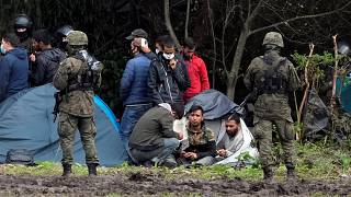Polish security forces surround migrants stuck along with border with Belarus in Usnarz Gorny, Poland earlier this month