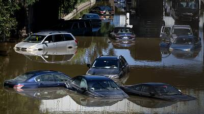Cars underwater in New York after the flooding caused by Hurricane Ida.