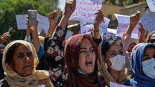 Afghan women shout slogans during an anti-Pakistan protest near the Pakistan embassy in Kabul on September 7, 2021.