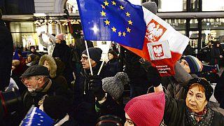 Tüntetés a jogi reform ellen varsóban 2020 januárjában