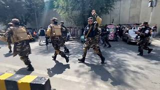 A Taliban orders the euronews camera to stop filming a few seconds before the shooting starts.