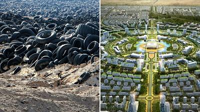 Used tyres that were removed from a  large landfil in the north of Kuwait and the design of the Abdullah Smart City in Kuwait by Korea Land and Housing Corp.(LH)