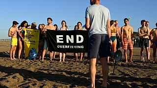 Participants gather and hold a banner on a beach in Marseille to draw the attention of world leaders and protest against the environmental crisis.