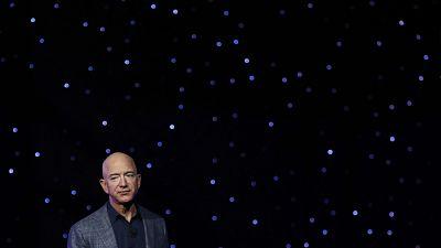 Jeff Bezos speaks at an event to unveil Blue Origin's Blue Moon lunar lander, Thursday, May 9, 2019