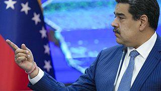 El presidente de Venezuela, Nicolás Maduro, durante una rueda de prensa en el Palacio de Miraflores.