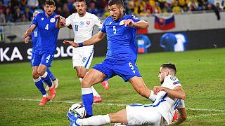 Στιγμιότυπο από την αναμέτρηση Σλοβακίας - Κύπρου για τα προκριματικά του Μουντιάλ 2022