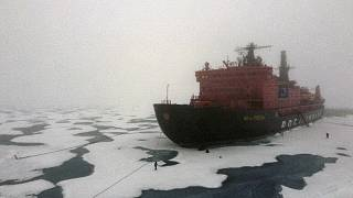 """The Russian """"50 Years of Victory"""" nuclear-powered icebreaker is seen at the North Pole on August 18, 2021"""