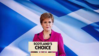 Archív felvétel: Nicola Sturgeon, a Skót Nemzeti Párt vezetője edinburghi sajtóértekezleten