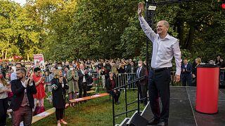 Győzelemre áll: Olaf Scholz szocdem kancellárjelölt lipcsei kampánygyűlésén
