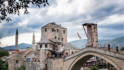 Mostar's Old Bridge (Stari Most) is around 20m above the water level