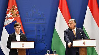 Serbian Prime Minister Ana Brnabic and her Hungarian counterpart Viktor Orban following the 6th Hungarian-Serbian government summit in Budapest