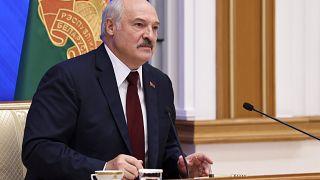 Belarusian President Alexander Lukashenko speaks during an annual press conference in Minsk.