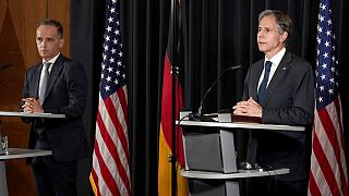 US Secretary of State, Antony Blinken (R), and German Foreign Minister Heiko Maas (L), at a joint press conference at the Ramstein US Air Base, Germany, September 8, 2021.