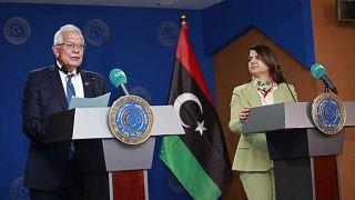 وزيرة الخارجية الليبية نجلاء المنقوش تعقد مؤتمرا صحفيا مع منسق السياسة الخارجية بالاتحاد الأوروبي الزائر جوزيب بوريل، في طرابلس - ليبيا.