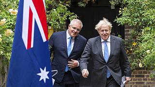 Britain's Prime Minister Boris Johnson with Australian Prime Minister Scott Morrison, in the garden of 10 Downing Street after agreeing a trade deal, London, June 15, 2021.