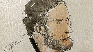 Eine Skizze von Salah Abdeslam beim Prozess, der am Mittwoch, 9. September, in Paris begonnen hat.