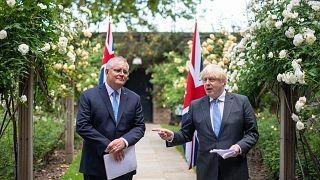 İngiltere Başbakanı Boris Johnson ve Avustralya Başbakanı Scott Morrison