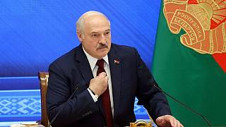 Belarus' President Alexander Lukashenko speaks during a press conference in Minsk on August 9, 2021.