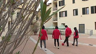 Young Afghan women playing football in Italy