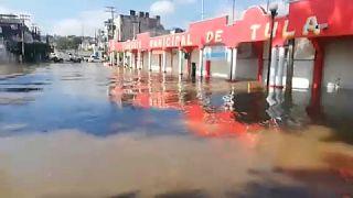 Captura de imagen de las calles de Tula tras la inundación.