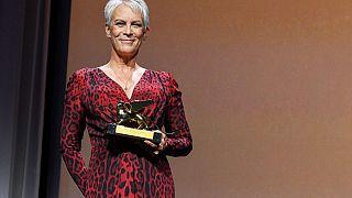 US actress Jamie Lee Curtis acknowledges receiving a Golden Lion for lifetime achievement on September 8, 2021.