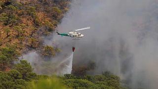 Un helicóptero lanza agua para tratar de contener las llamas en Sierra Bermeja, Málaga, España.
