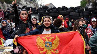 Protestierende in Montenegro