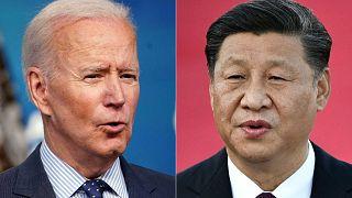 ABD Başkanı Joe Biden ve Çinli mevkidaşı Şi Cinping (sağda)
