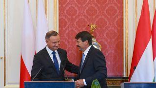 Der polnische Präsident Andrzej Duda und Ungarns Staatsoberhaupt János Áder