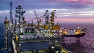 The field centre of the Johan Sverdrup oil field in the North Sea west of Stavanger, Norway, is pictured on January 7, 2020.