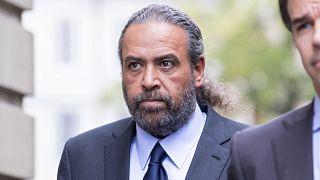 Sheikh Ahmad al-Fahad al-Sabah arrives at a Geneva's courthouse ahead of the verdict.