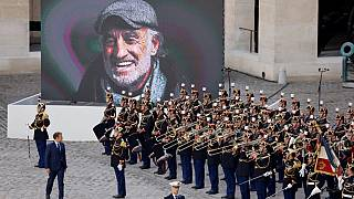 France's President Emmanuel Macron pays a national tribute to late French actor Jean-Paul Belmondo at the Hotel des Invalides in Paris, on September 9, 2021.