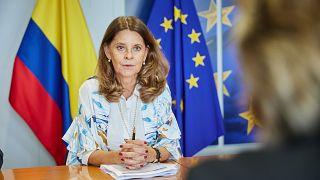 La vicepresidenta Marta Lucía Ramírez durante uno de sus encuentros en Bruselas