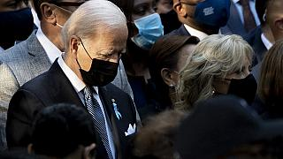US President Joe Biden attends the ceremony marking the 20th anniversary of the 9/11 attacks on the World Trade Center, in New York, on September 11, 2021.