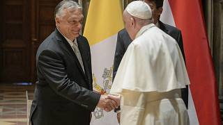 Pope Francis arrives at Budapest international airport, Sunday, Sept. 12, 2021.
