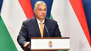 Orbán Viktor miniszterelnök az Ana Brnabic szerb kormányfővel tartott sajtótájékoztatón Budapesten, a Karmelita kolostorban 2021. szeptember 8-án.