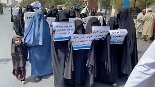 """Sur les pancartes, il était notamment possible de lire : """"les femmes qui ont quitté l'Afghanistan ne peuvent pas nous représenter"""""""