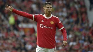 Manchester United's Cristiano Ronaldo gestures during the English Premier League match with Newcastle United at Old Trafford stadium in Manchester, September 11, 2021